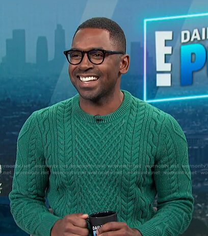 Justin's green cable knit sweater on E! News Daily Pop