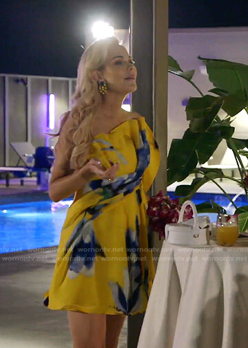 Kameron's yellow floral ruffle mini dress on The Real Housewives of Dallas
