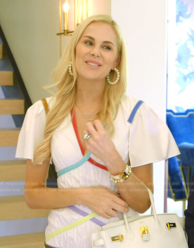 Kameron's multicolor trim flutter sleeve dress on The Real Housewives of Dallas
