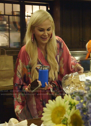 Kameron's pink floral robe on The Real Housewives of Dallas