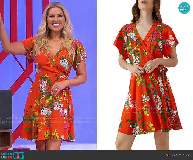 Karen Millen Floral Silk Wrap Dress worn by Rachel Reynolds  on The Price is Right