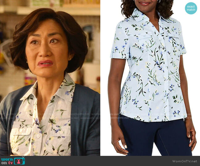 Floral Button-Front Shirt by Karen Scott worn by Mrs Kim (Jean Yoon) on Kims Convenience