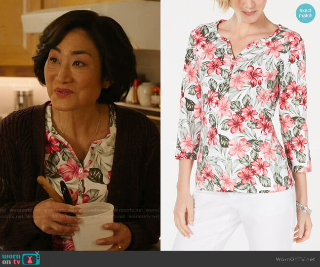Floral-Print 3/4-Sleeve Top by Karen Scott worn by Mrs Kim (Jean Yoon) on Kims Convenience