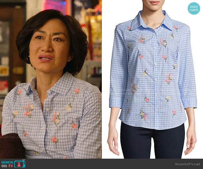Gingham Posy Embroidered Cotton Button-Down Shirt by Karen Scott worn by Mrs Kim (Jean Yoon) on Kims Convenience
