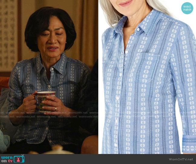 Floral & Striped Cotton Shirt by Karen Scott worn by Mrs Kim (Jean Yoon) on Kims Convenience
