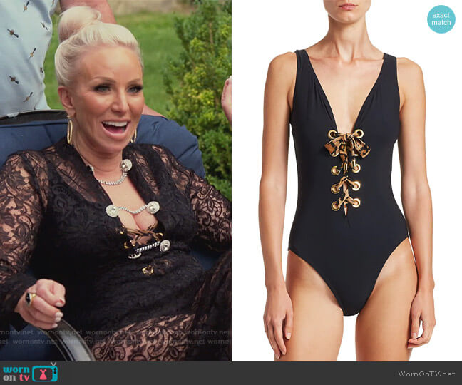 Ava Lace-Up Silent Underwire One-Piece Bathing Suit by Karla Colletto Swim worn by Margaret Josephs  on The Real Housewives of New Jersey