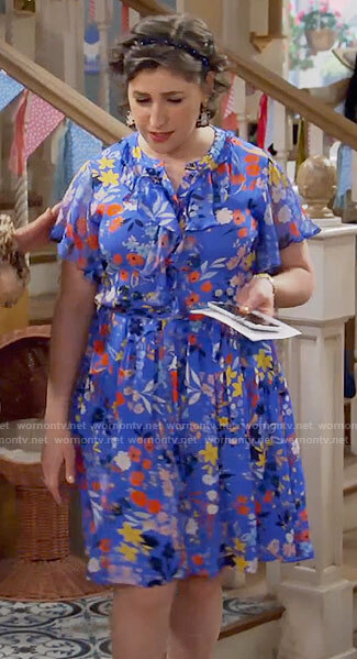 Kat's blue floral dress on Call Me Kat