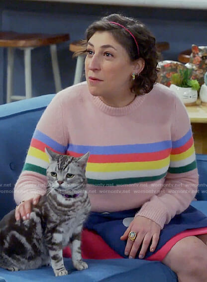 Kat's rainbow striped sweater on Call Me Kat