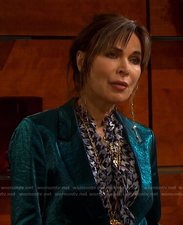 Kate's houndstooth ruffle blouse on Days of our Lives