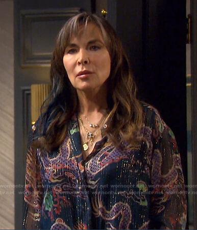 Kate's metallic stripe dragon print blouse on Days of our Lives
