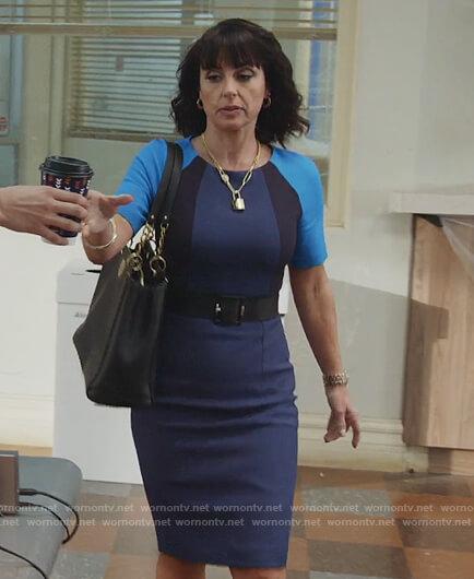 Kathleen's blue colorblock sheath dress on Good Trouble