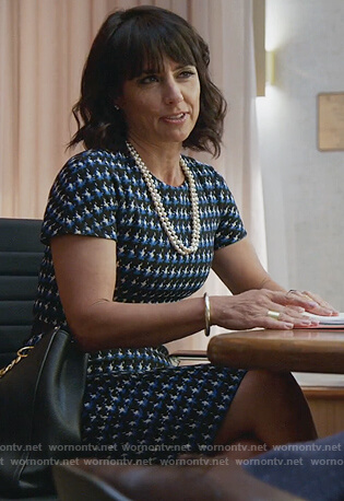Kathleen's blue tweed dress on Good Trouble
