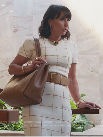 Kathleen's white check sheath dress on Good Trouble