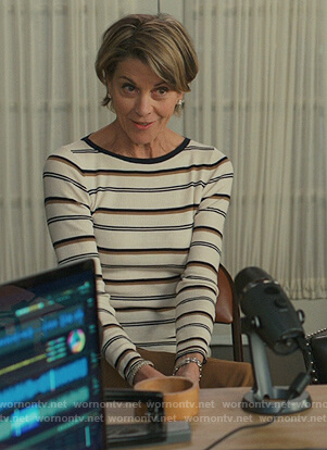 Kathryn's white striped sweater on American Housewife