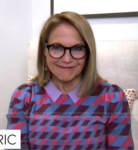 Katie Couric's geometric polo sweater on Today