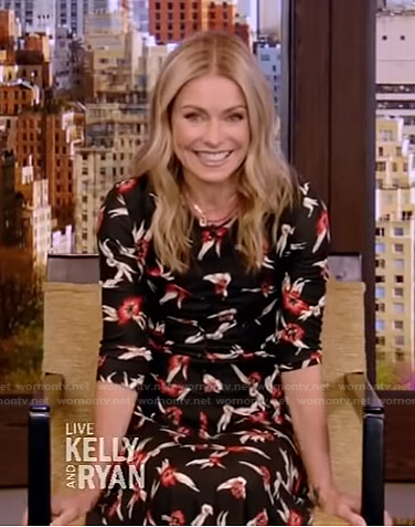 Kelly's black floral midi dress on Live with Kelly and Ryan