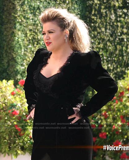Kelly's black lace trim velvet wrap dress on The Voice