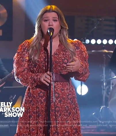 Kelly's floral metallic midi dress on The Kelly Clarkson Show