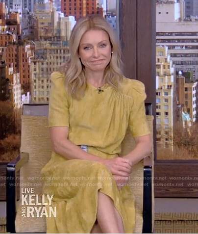 Kelly's yellow velvet dress and tie dye belt on Live with Kelly and Ryan