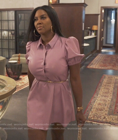 Kenya's purple leather puff sleeve dress on The Real Housewives of Atlanta