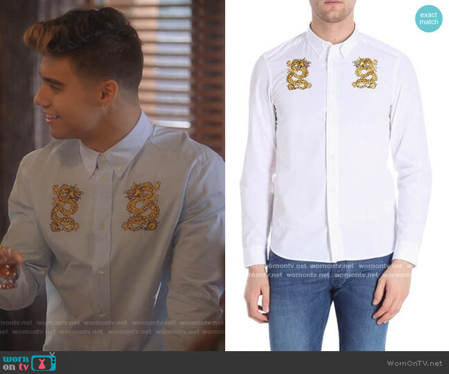 White Shirt with Dragons Embroidery by Kenzo worn by Vivek Shah (Jordan Buhat) on Grown-ish