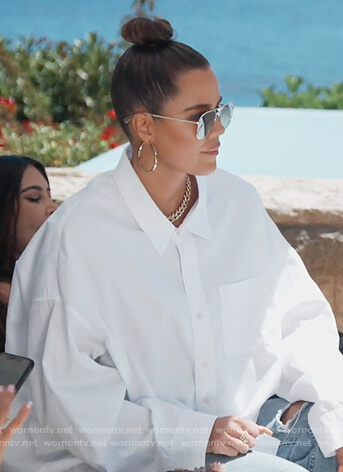 Khloe's white oversized shirt on Keeping Up with the Kardashians