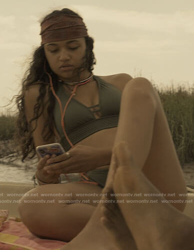 Kiara's olive green bikini on Outer Banks