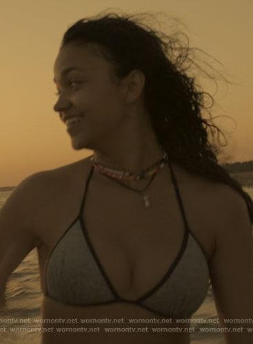 Kiara's grey triangle bikini with black trim on Outer Banks