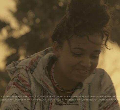 Kiara's striped hoodie on Outer Banks