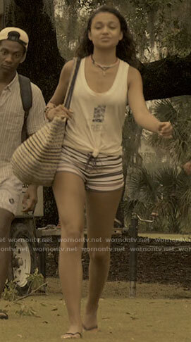 Kiara's striped shorts on Outer Banks