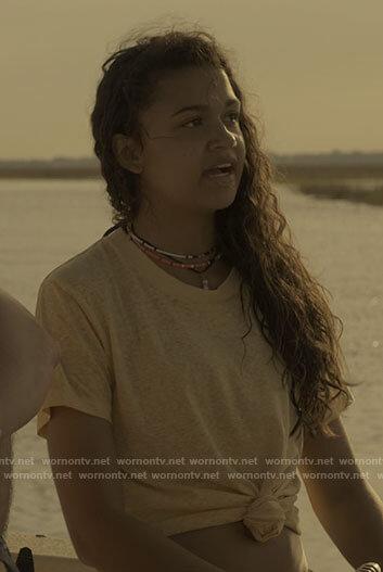 Kiara's yellow t-shirt on Outer Banks