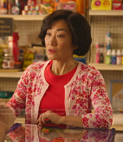 Mrs. Kim's pink floral cardigan on Kims Convenience