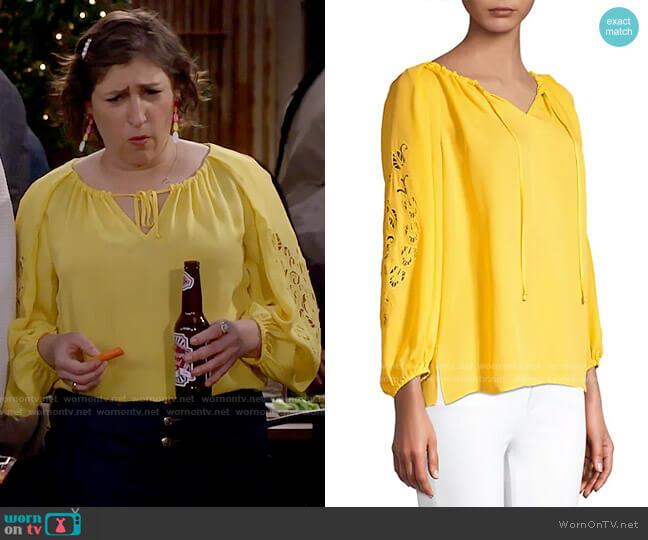 Kobi Halperin Paulina Blouse worn by Kat Silver (Mayim Bialik) on Call Me Kat