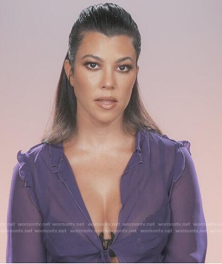 Kourtney's purple ruffle sheer blouse on Keeping Up with the Kardashians