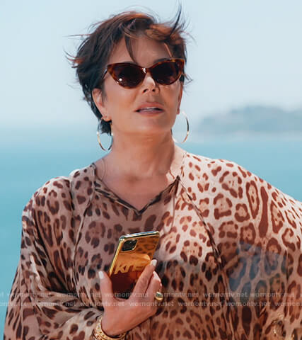Kris's leopard print kaftan on Keeping Up with the Kardashians