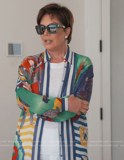 Kris's mixed print shirt on Keeping Up with the Kardashians