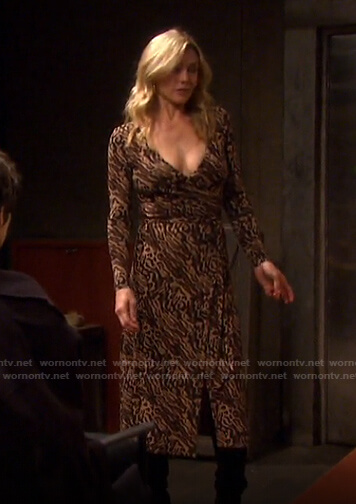 Kristen's leopard print wrap dress on Days of our Lives