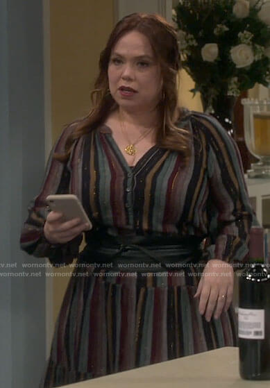 Vanessa's striped midi dress on Last Man Standing