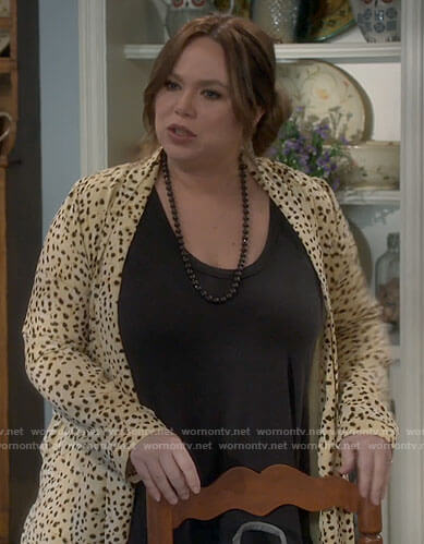 Kristin's yellow animal print cardigan on Last Man Standing