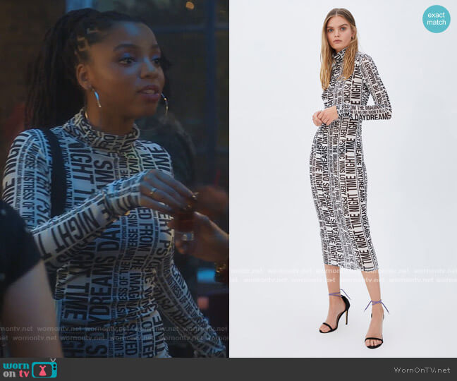 The Opposite Mesh Dress White by Ksubi worn by Jazlyn Forster (Chloe Bailey) on Grown-ish