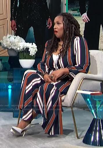 kym's striped wrap dress on E! News Daily Pop
