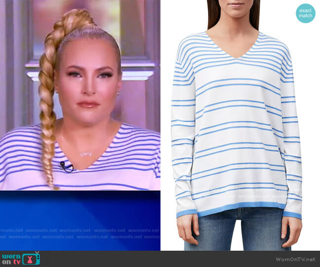 Striped Lurex V-Neck Sweater by Lafayette 148 worn by Meghan McCain  on The View