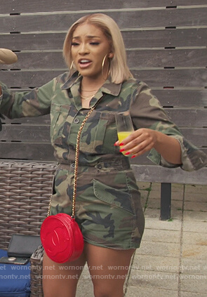 Drew's camo print romper on The Real Housewives of Atlanta