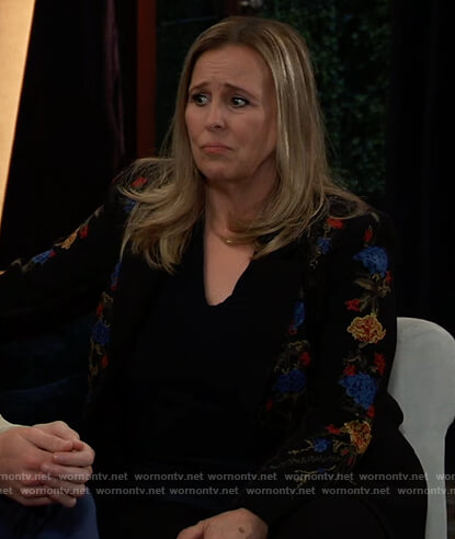 Laura's floral embroidered blazer on General Hospital