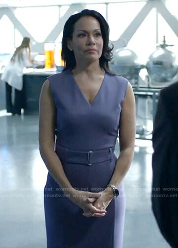 Lauren Caruso's purple v-neck belted dress on Black Lightning