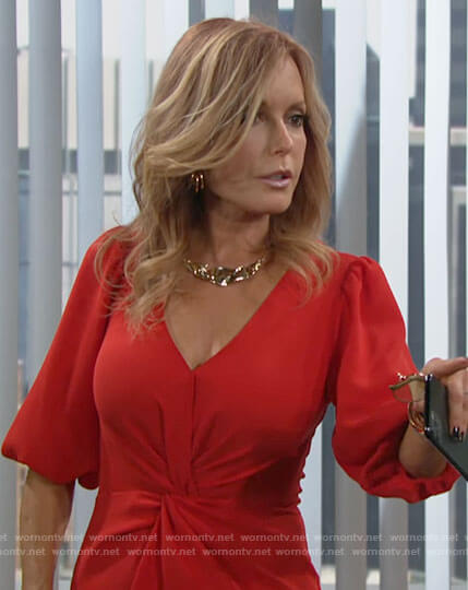 Lauren's red twist front dress on The Young and the Restless