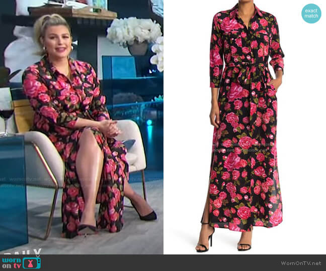 Cameron Floral Waist Tie Shirt Dress by L'Agence worn by Carissa Loethen Culiner  on E! News
