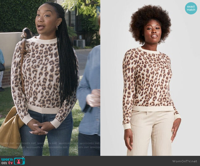 Leopard Crew Neck Pull Over by Target worn by Michelle (Maya Lynne Robinson) on The Unicorn