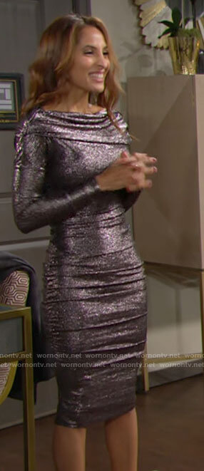 Lily's metallic long sleeved dress on The Young and the Restless