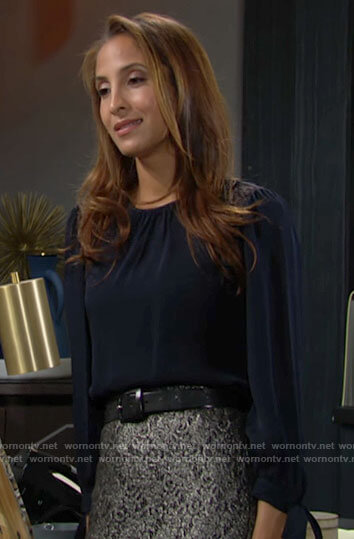 Lily's navy lace shoulder blouse and metallic pencil skirt on The Young and the Restless